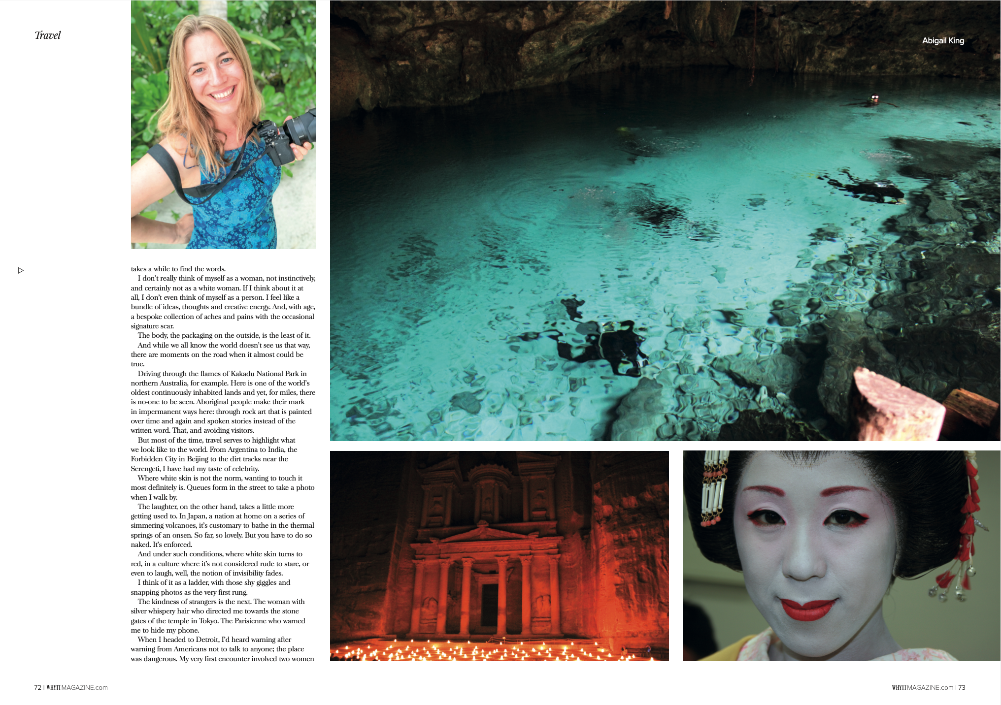 Second page from Abigail King's travel feature in Whytt Magazine