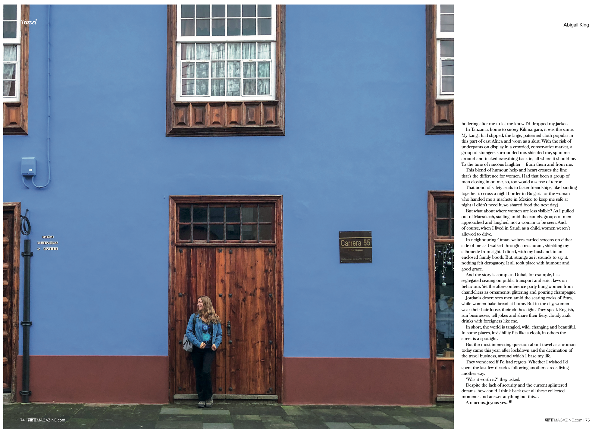 Final page from Abigail King's travel feature for Whytt Magazine